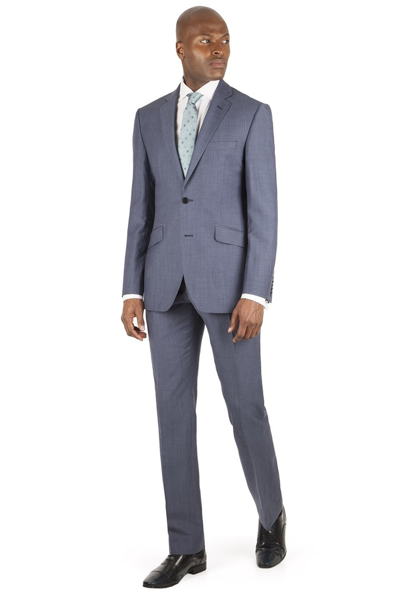 Blue Mohair Tailored Fit Jacket