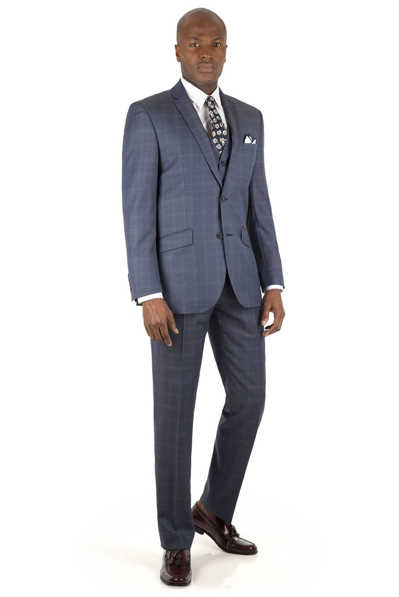 Blue Faded Check Tailored Fit Suit