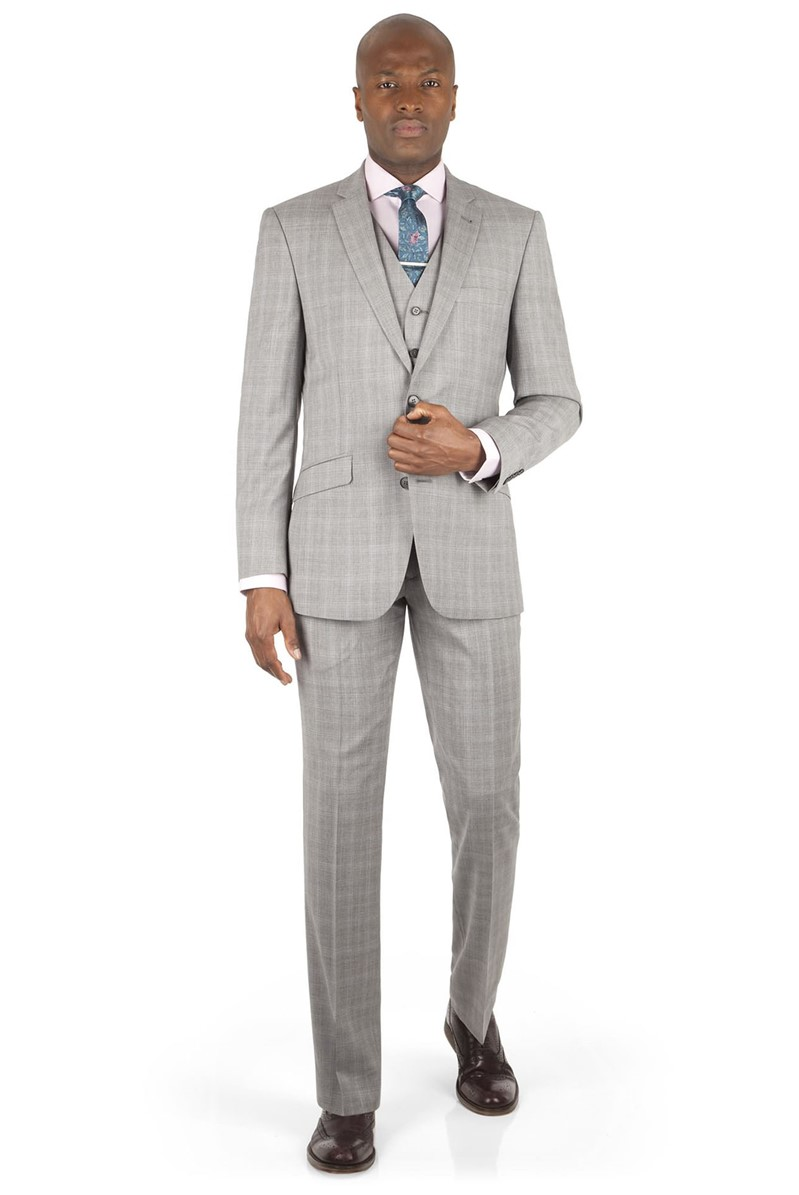 Grey Blue Check Tailored Fit Suit Jacket