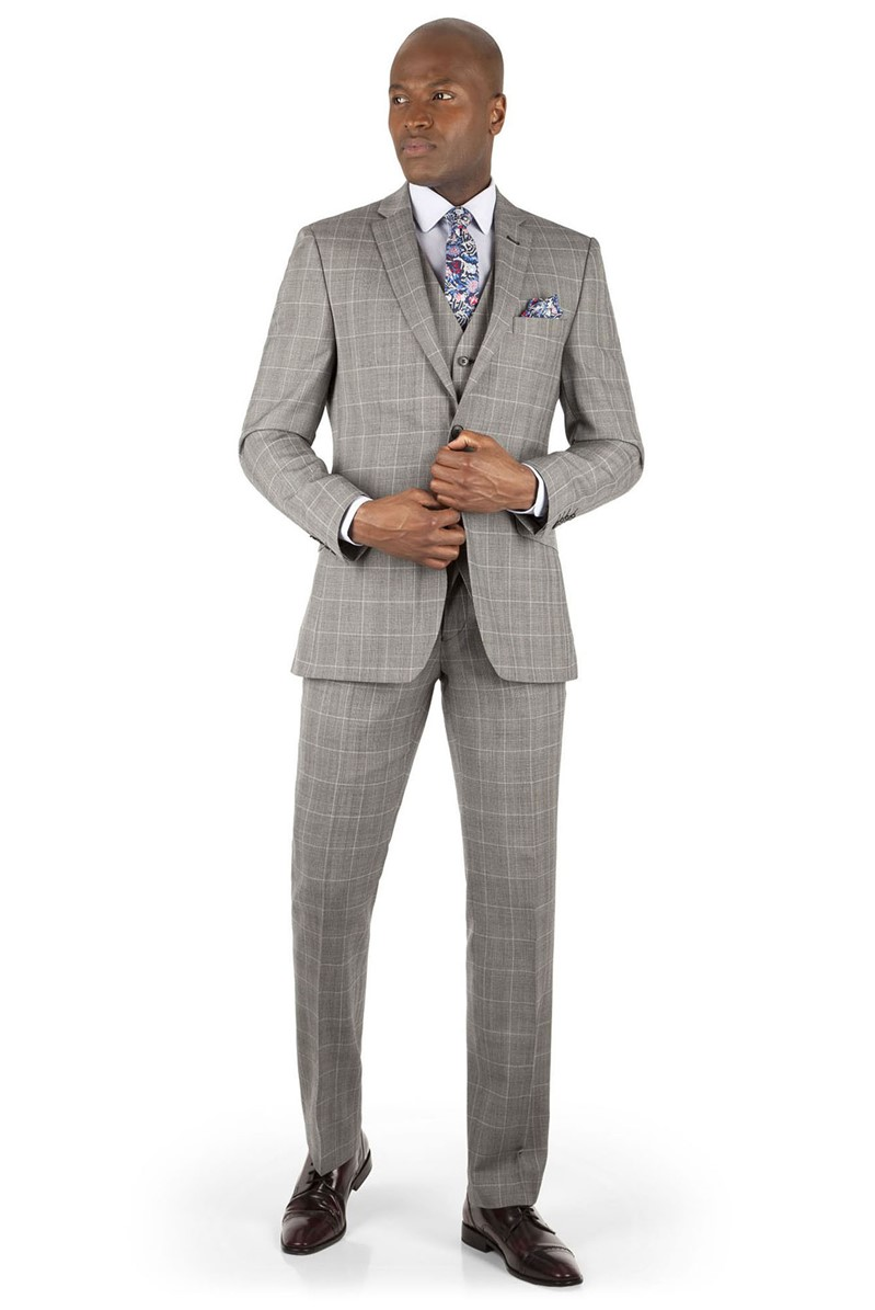 Oatmeal Check Tailored Fit Suit
