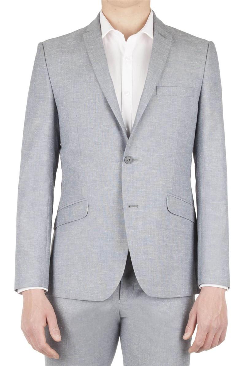 Light Blue Linen Slim Fit Suit Jacket