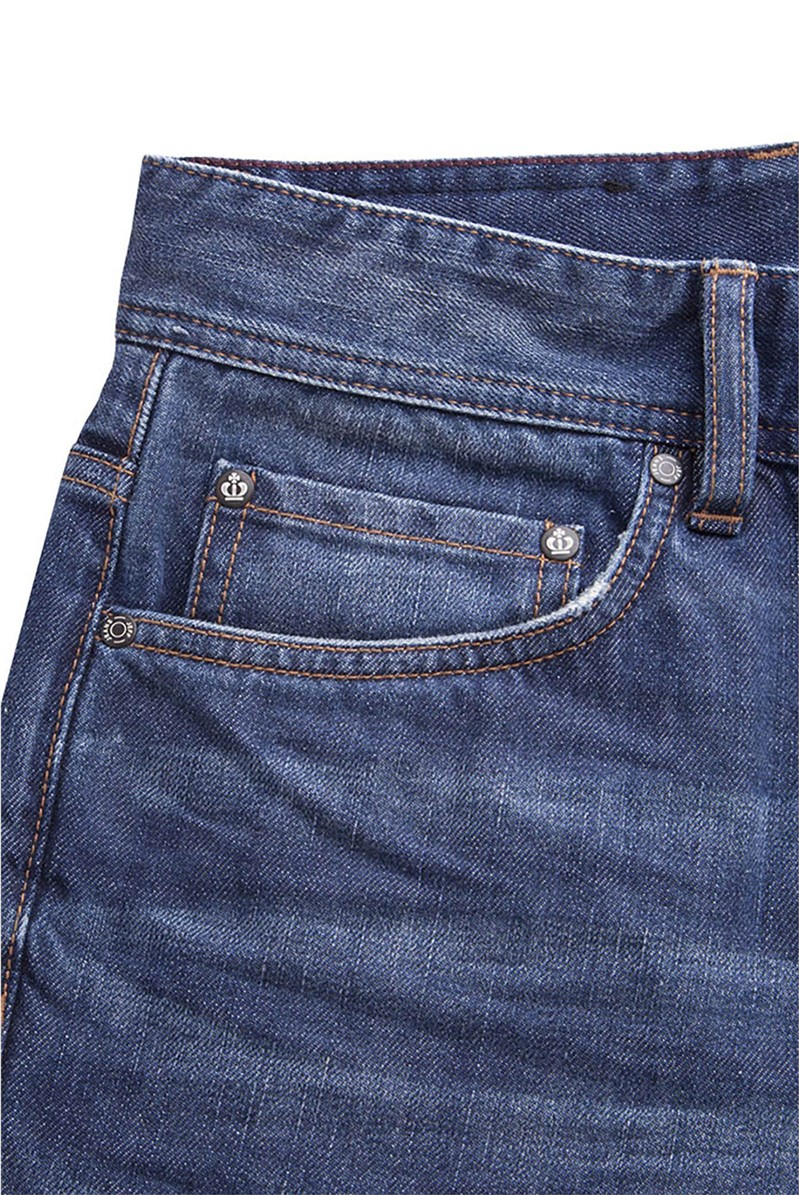 Straight Fit Bleach and Stone Washed Jeans
