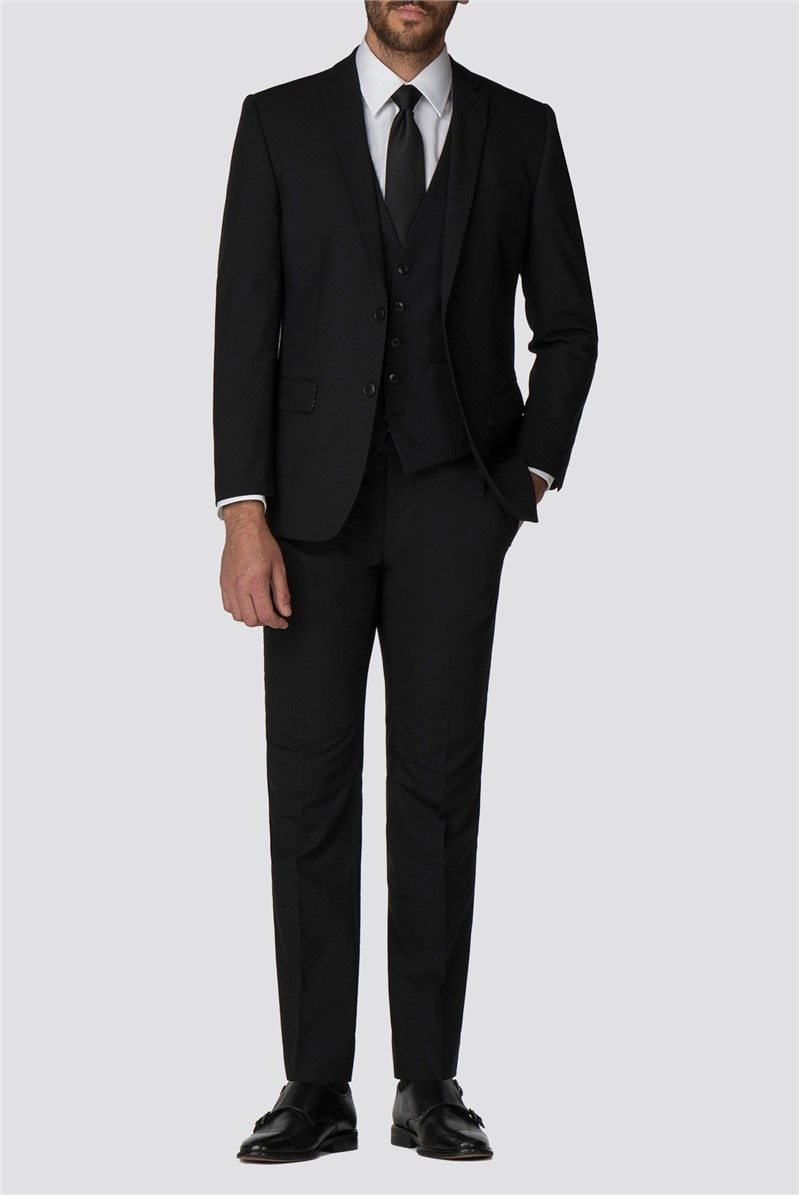 Black Plain Twill Tailored Trousers