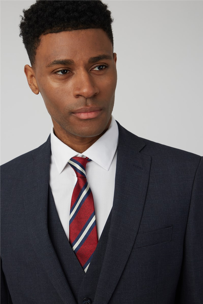 Navy Jaspe Check Tailored Fit Suit