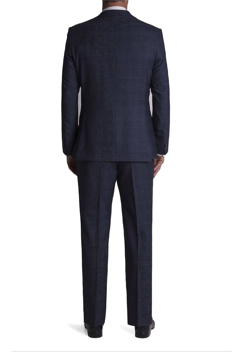 Stvdio Blue Jaspe Grey Windowpane Tailored Fit Suit