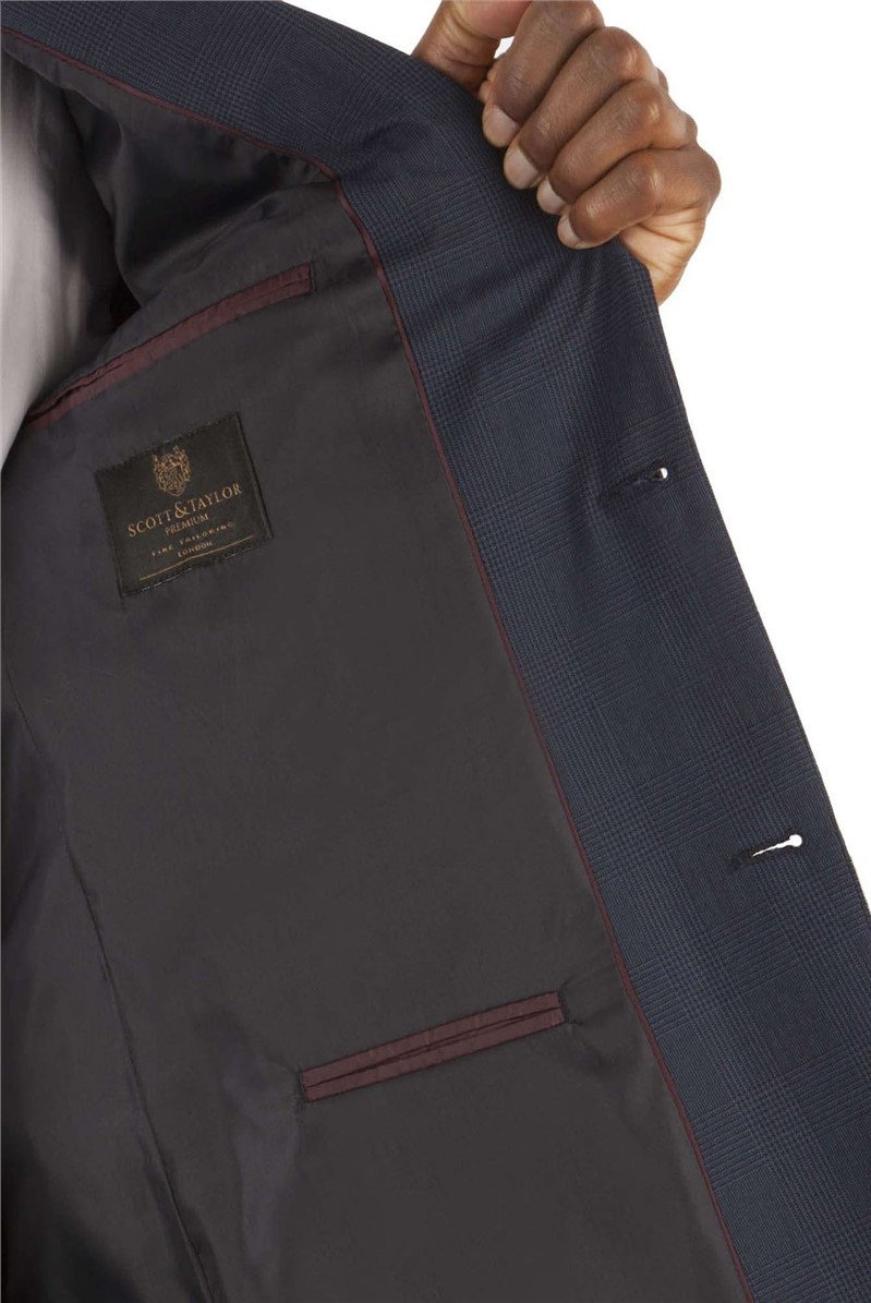 Navy Prince of Wales Check Regular Fit Suit