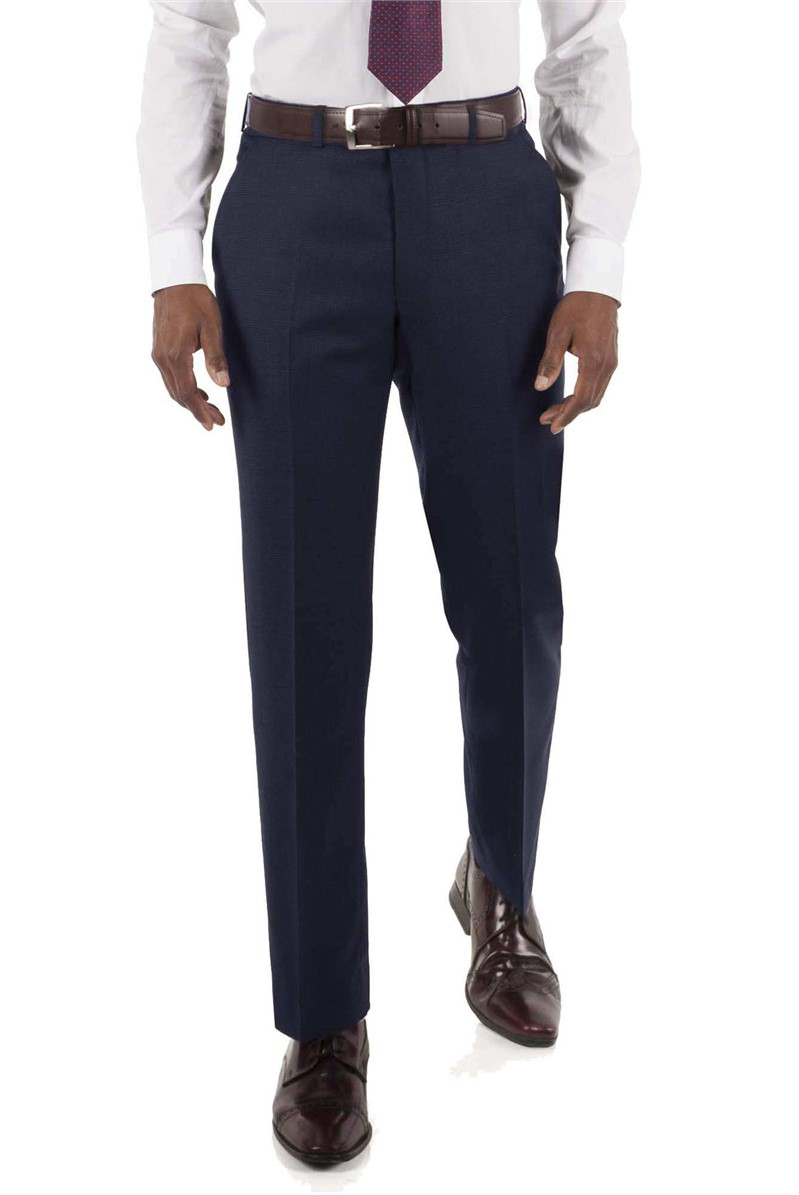 Scott & Taylor NAVY PRINCE OF WALES REGULAR CHECK TROUSER