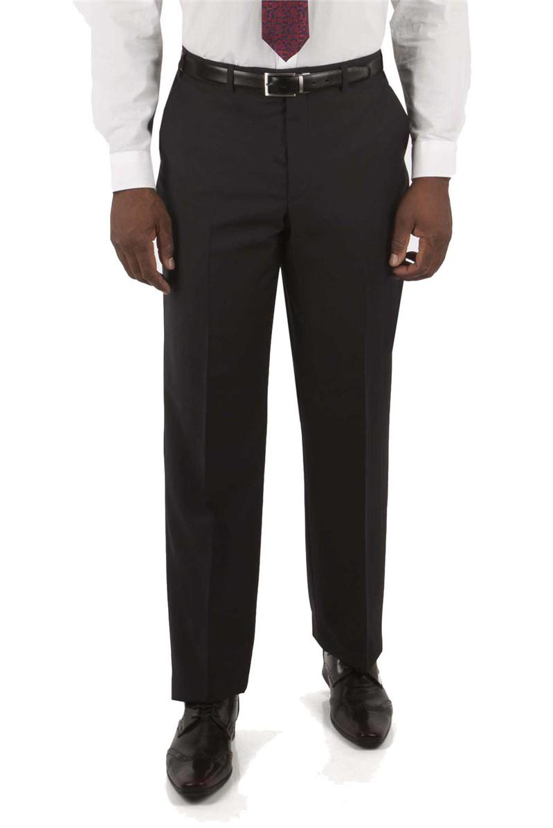 Navy Textured Regular Fit Suit Trouser