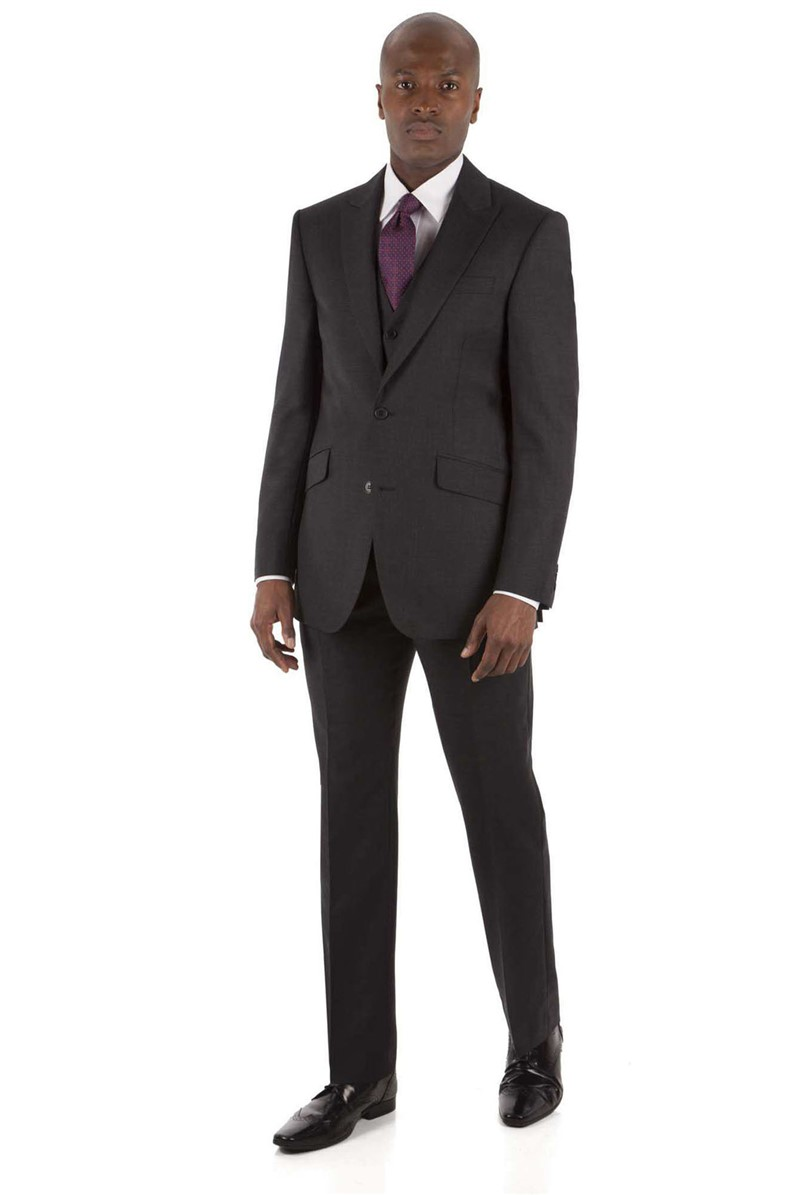 Charcoal Check Regular Fit Suit Jacket