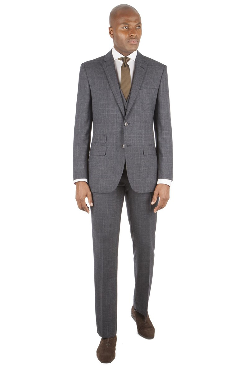 Navy Rust Check Tailored Fit Suit