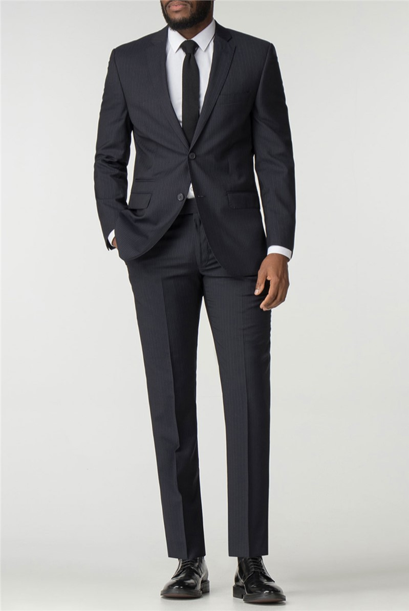 Navy Stripe Italian Pure New Wool Tailored Fit Suit Jacket