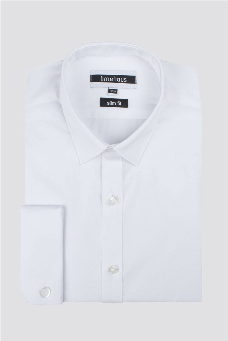 Limehaus White Double Cuff Slim Fit Shirt
