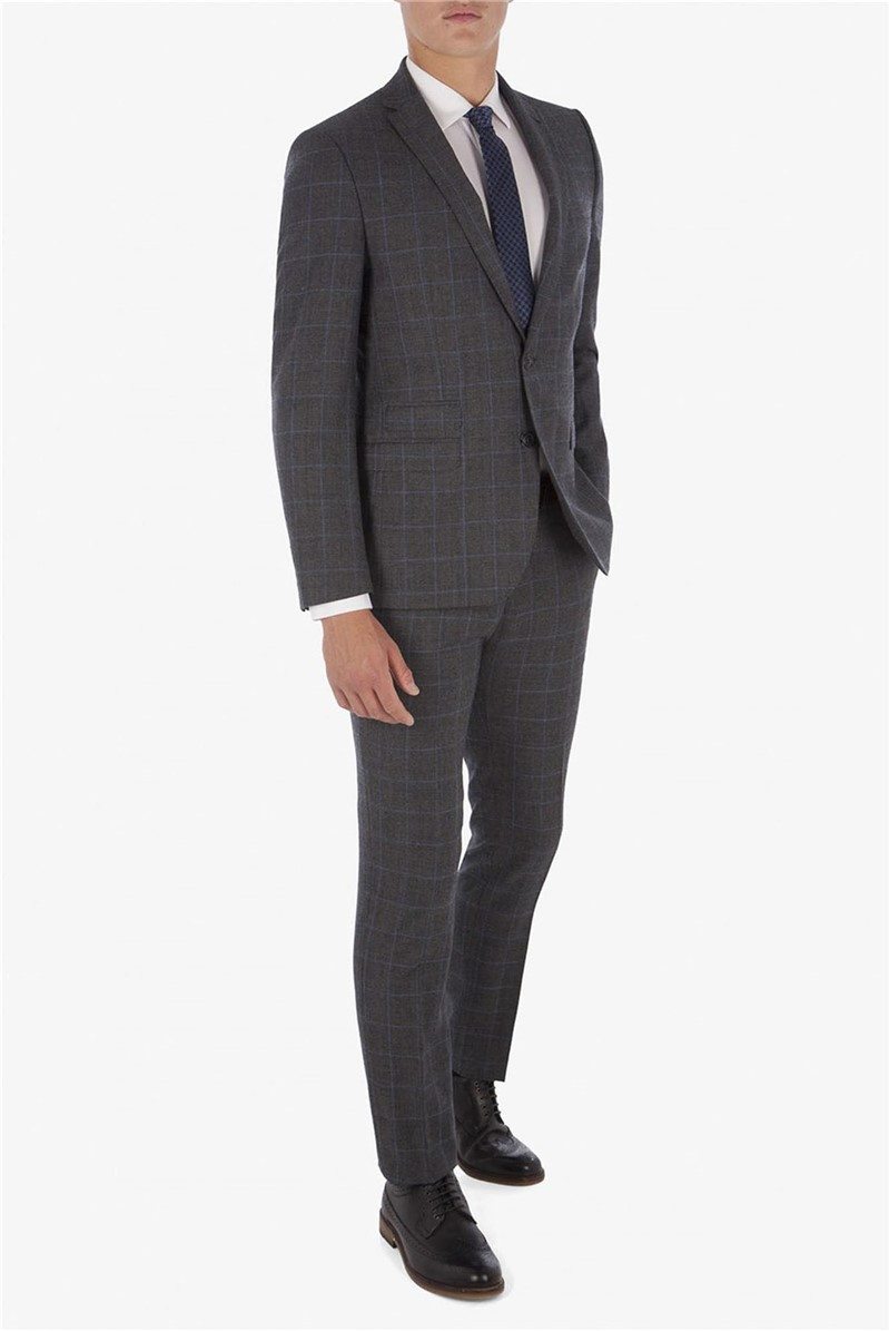 Grey with Blue Overcheck Camden Suit