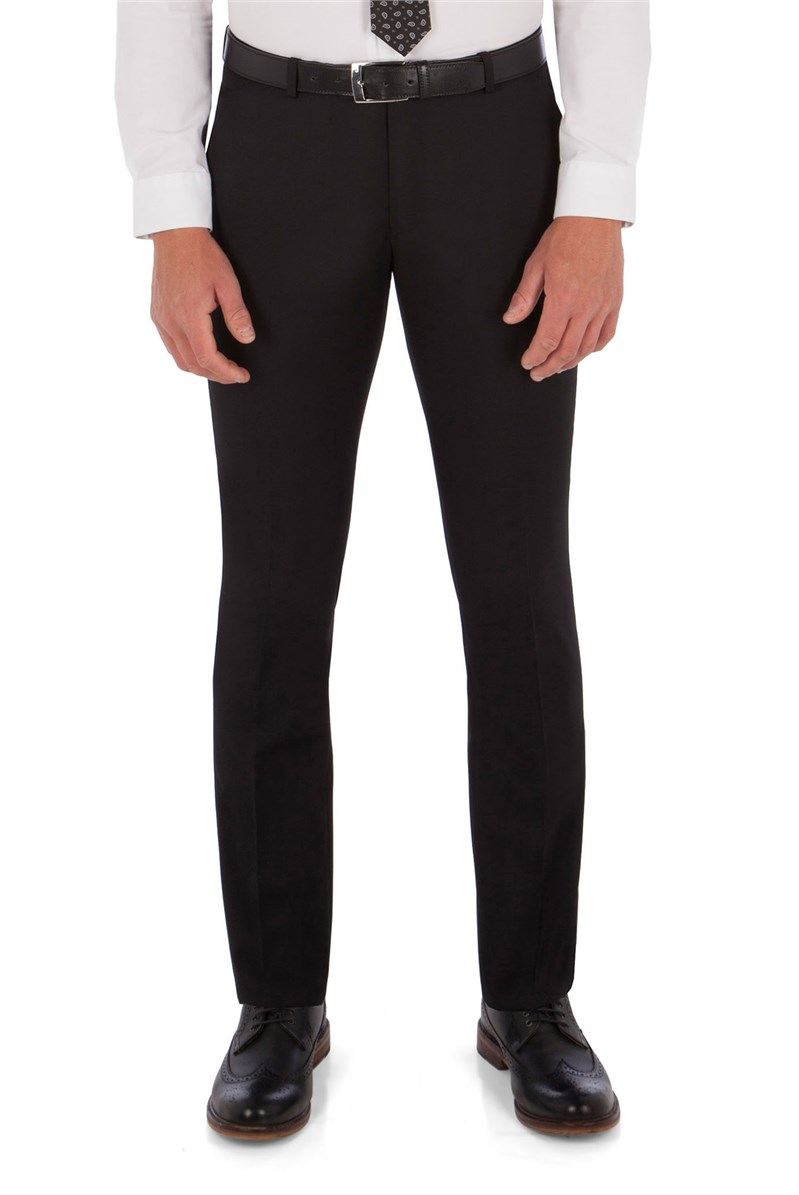 Black Twill King's Fit Suit Trousers