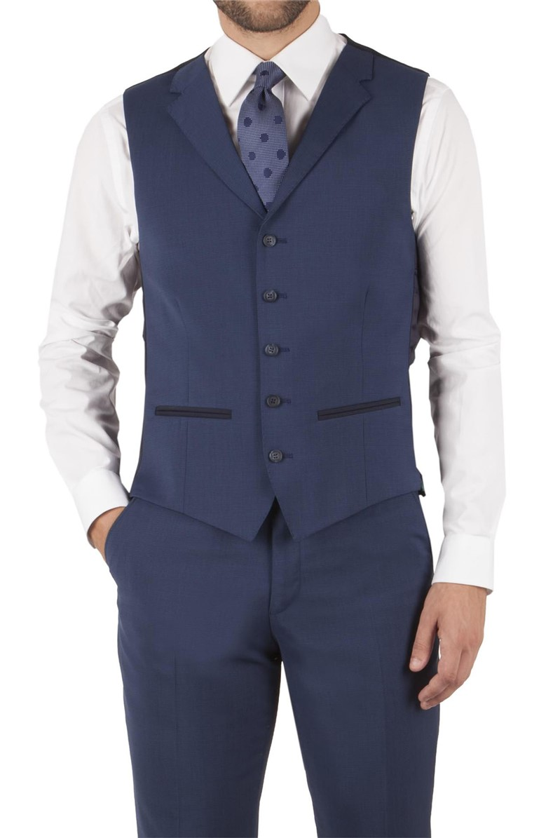 Rich Blue Puppytooth Tailored Fit Waistcoat