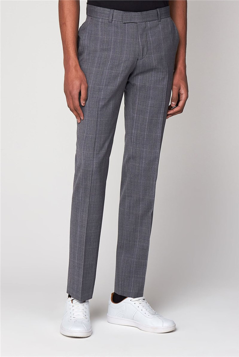 Smoked Grey Textured Check Trouser