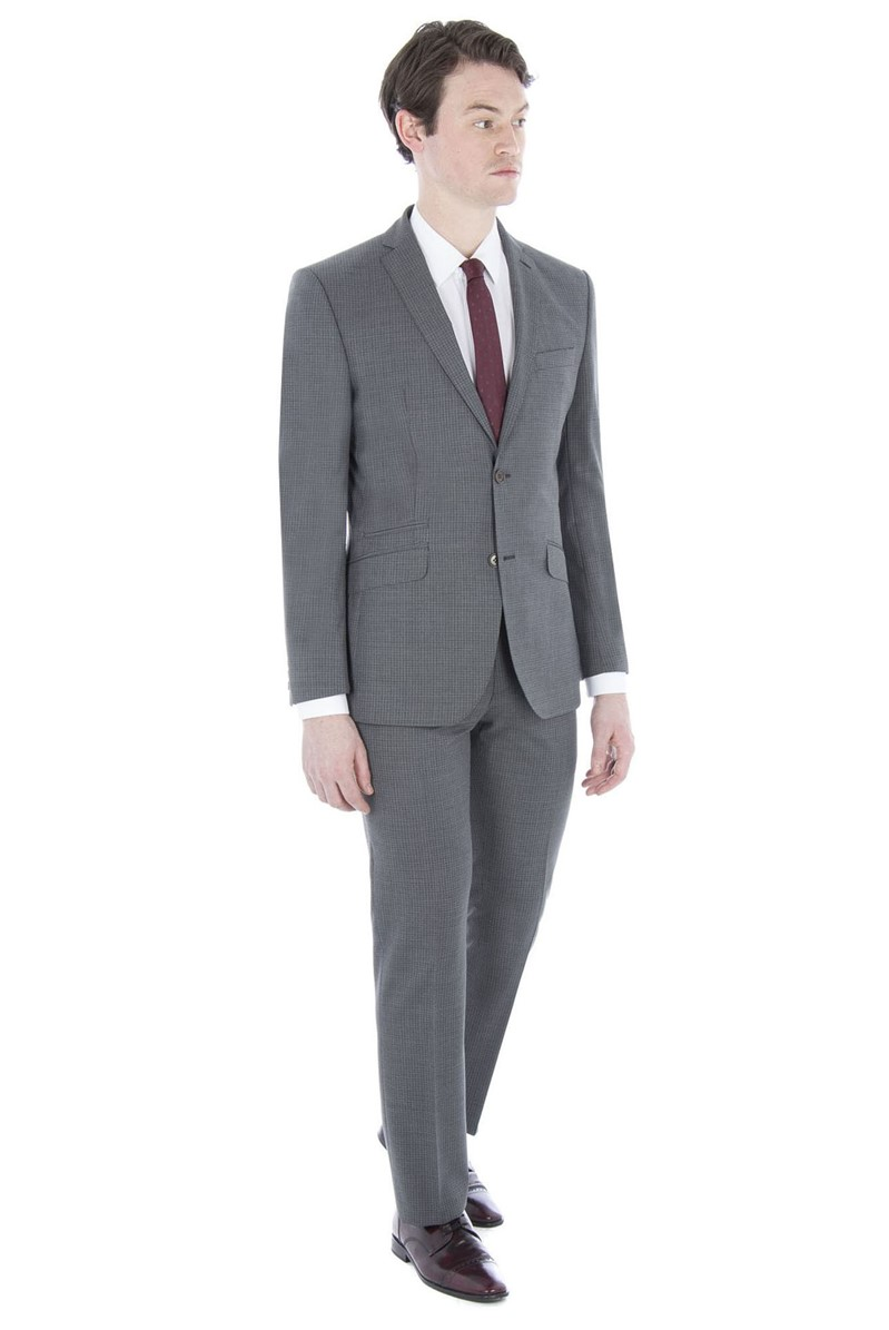 Grey Faded Check Tailored Fit Suit