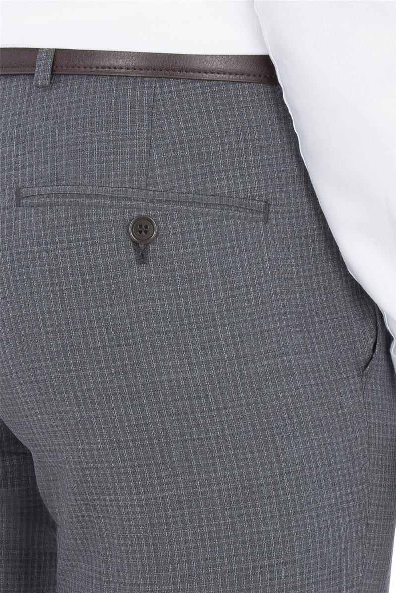Grey Faded Check Tailored Fit Trouser
