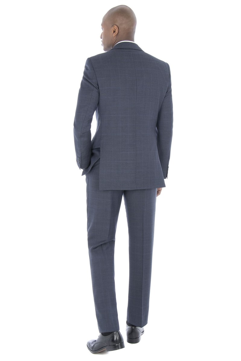 Blue Prince of Wales Check Regular Fit Suit