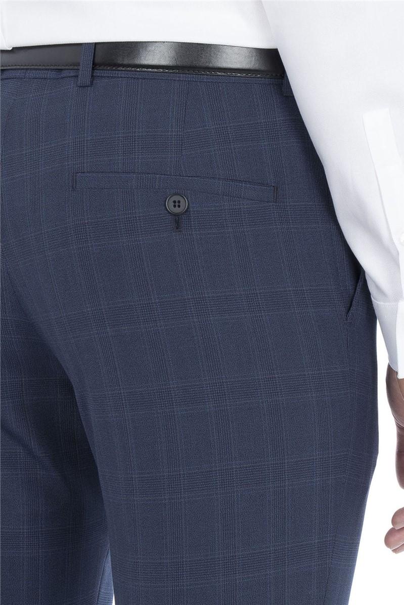 Blue Check Slim Fit Trouser