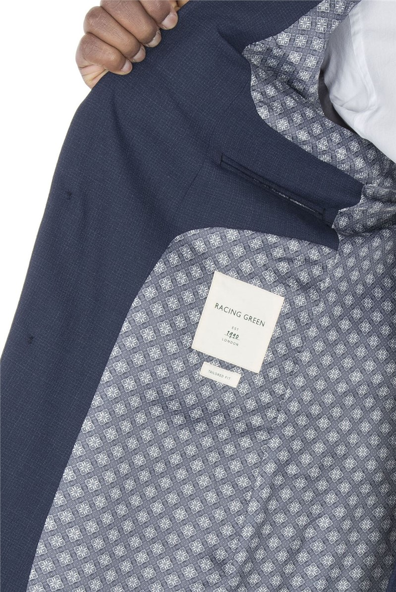 Navy Broken Check Tailored Fit Suit Trouser