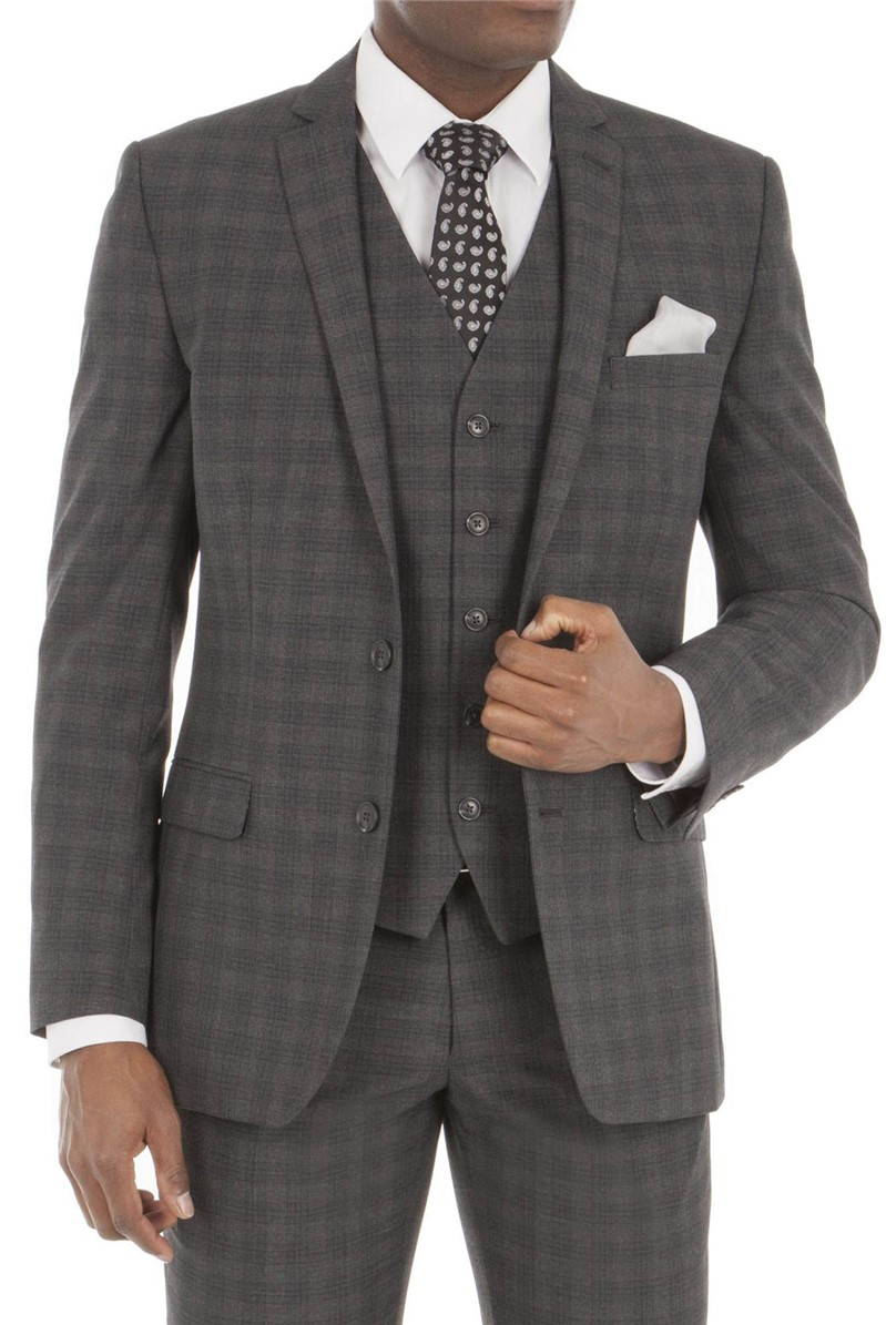 Aston & Gunn CHARCOAL CHECK TAILORED FIT SUIT