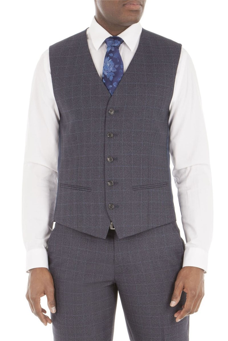 Aston & Gunn GREY CHECK TAILORED FIT VEST