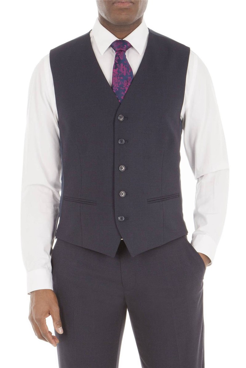 Navy Tonal Check Tailored Fit Waistcoat