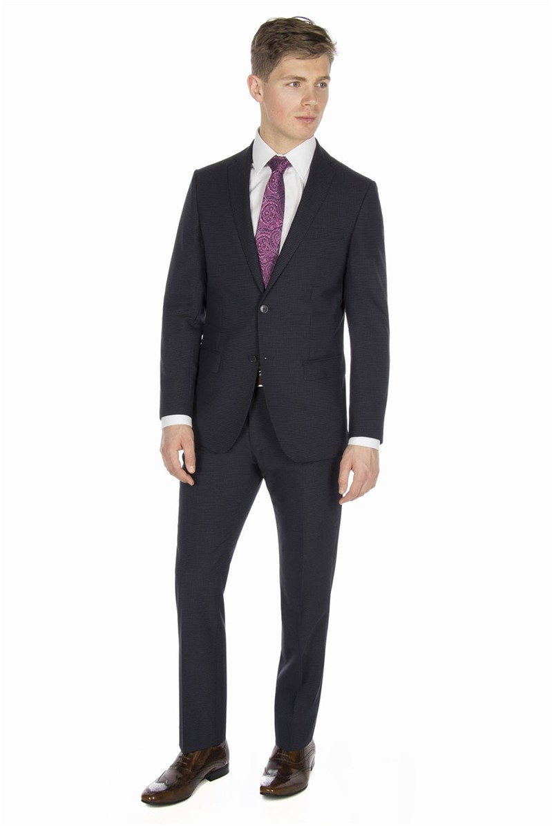 Stvdio Navy Grey Gingham Tailored Fit Suit