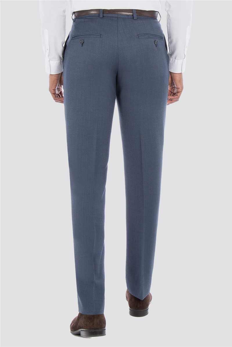 Slate Blue Textured Check Trousers