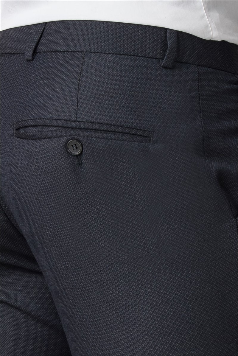 Navy Micro Wool Blend Tailored Fit Suit Trouser
