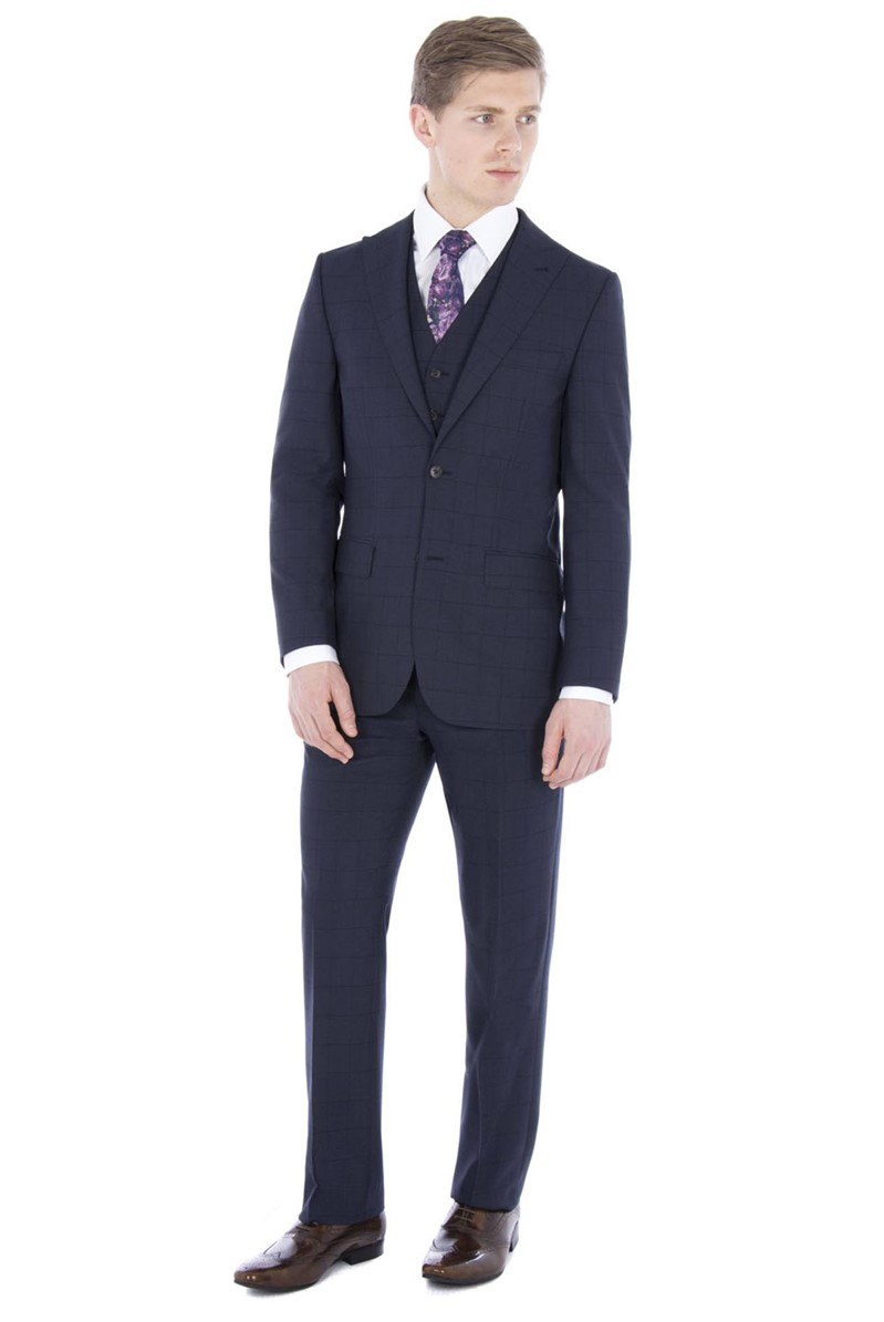 Navy Windowpane Check Regular Fit Suit
