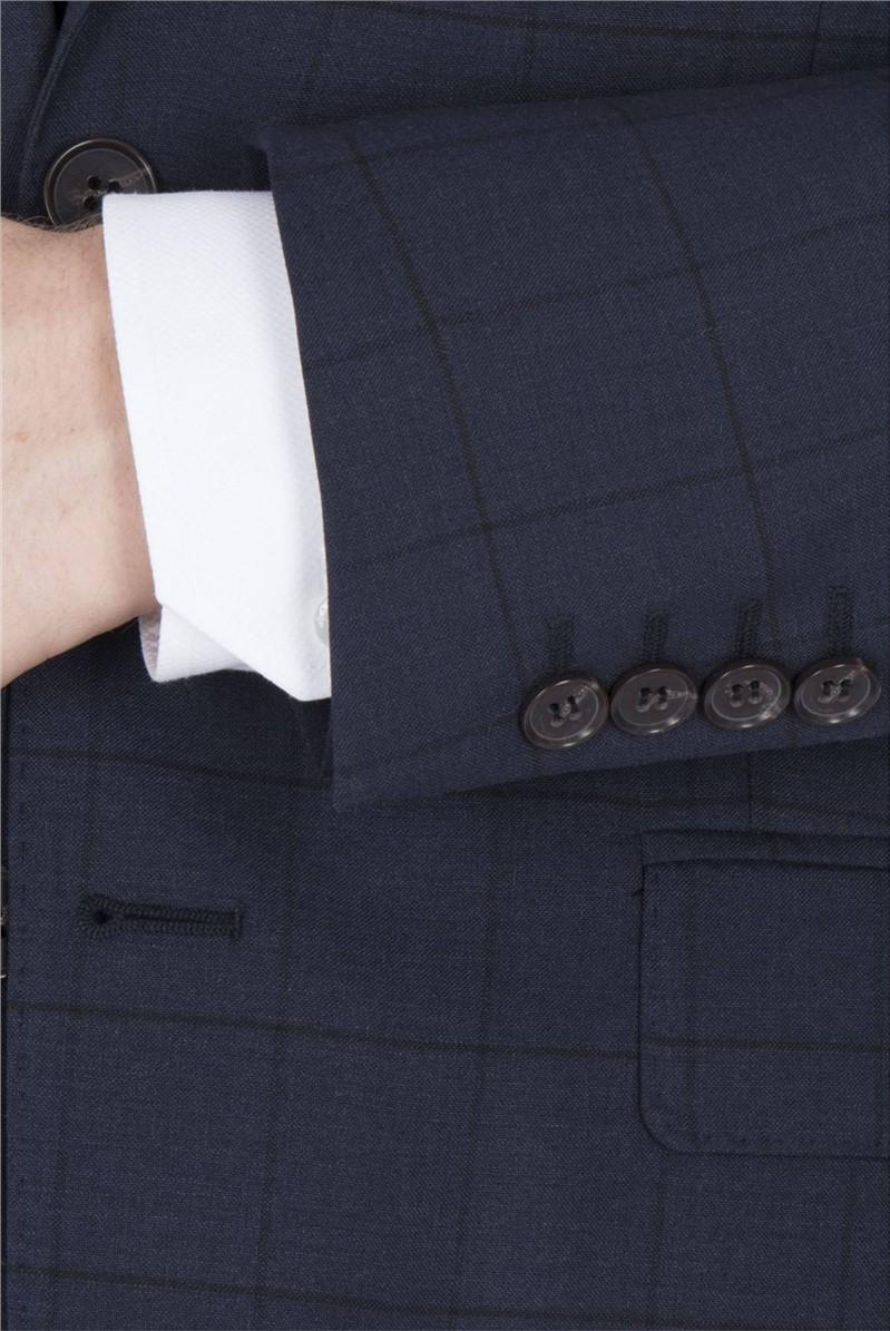 Navy Windowpane Check Regular Fit Waistcoat