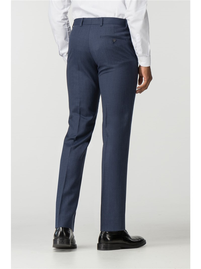 DEEP BLUE MICRO WOOL BLEND TAILORED FIT SUIT TROUSER