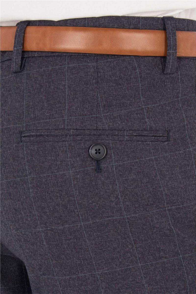Slate Blue Jaspe Windowpane Check Trouser