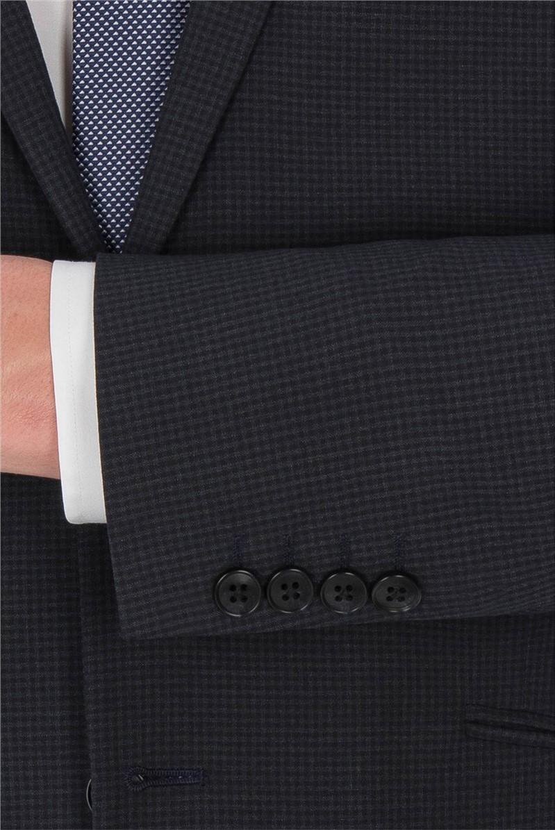 Deep Slate Blue Gingham Suit Trouser