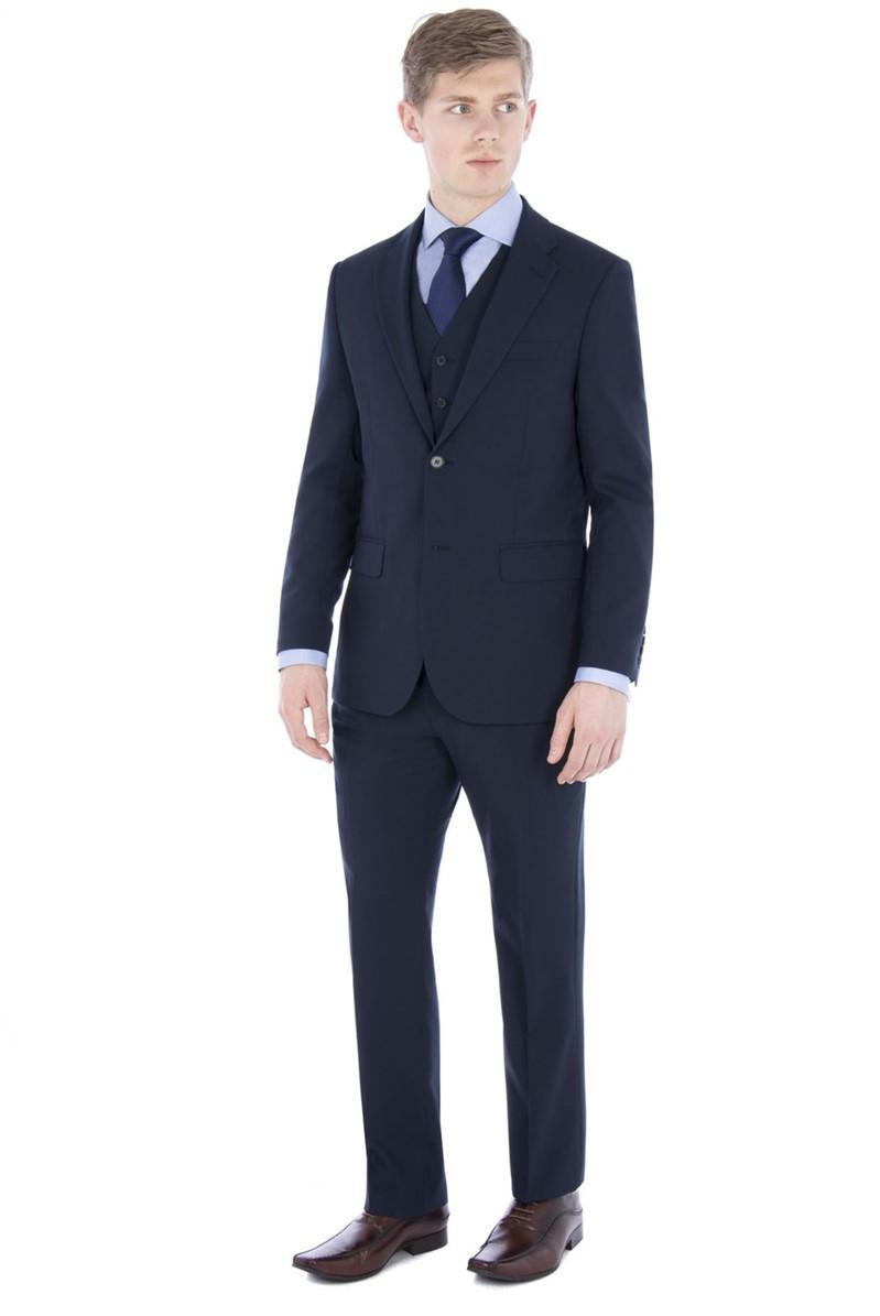 Navy Plain Regular Fit Travel Suit