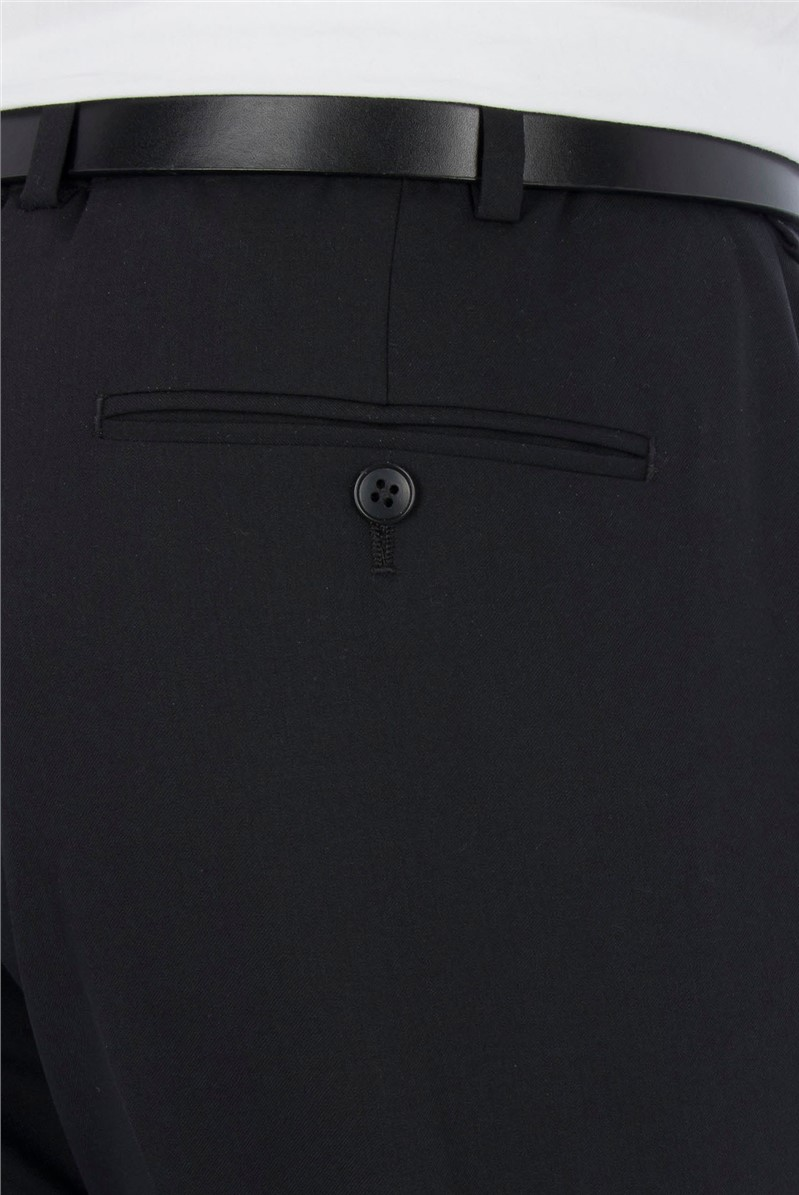 Plain Black Twill Athletic Fit Trousers