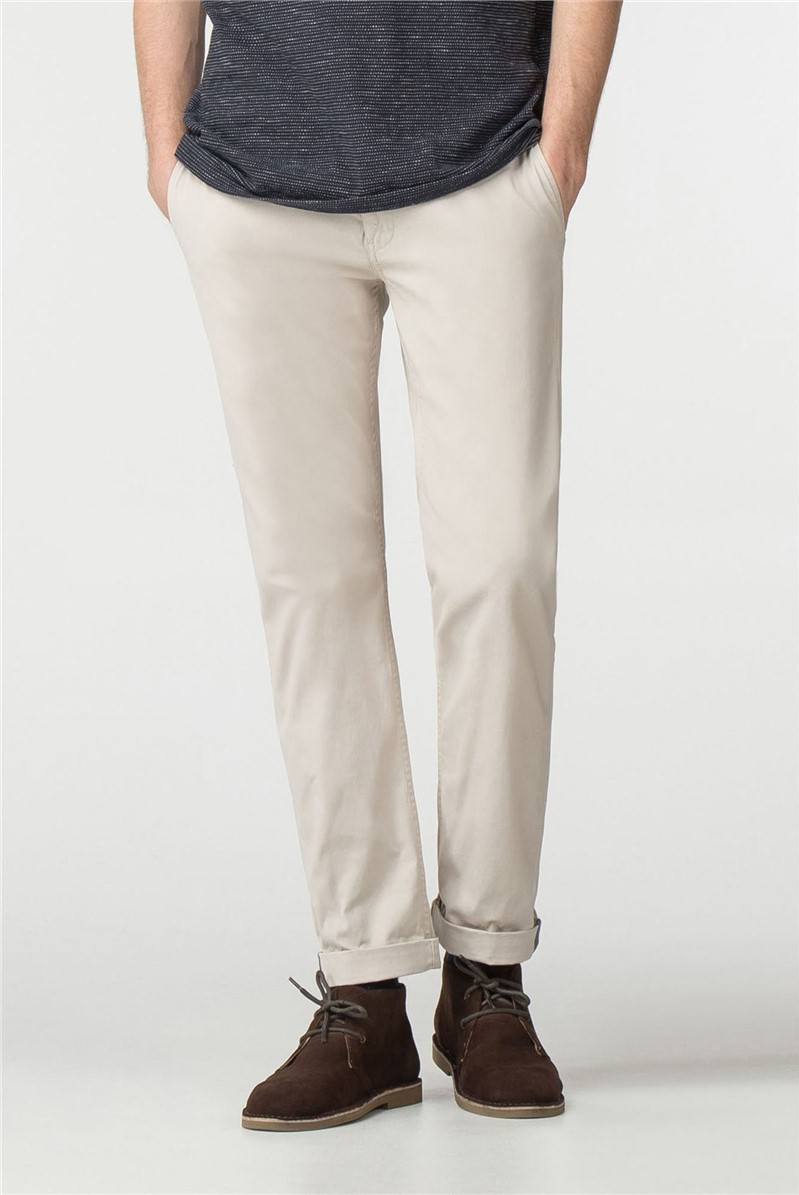 Beige Slim Stretch Chino