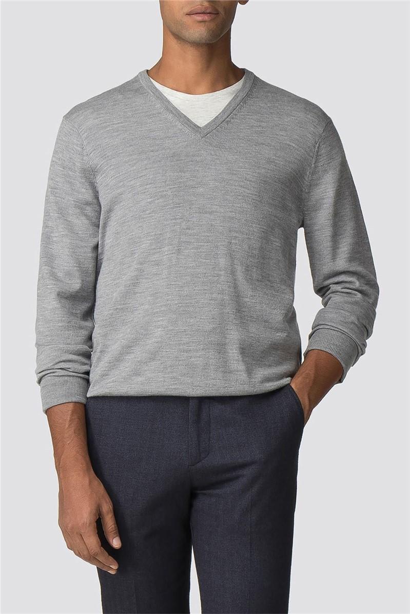 Mid Grey Merino V Neck