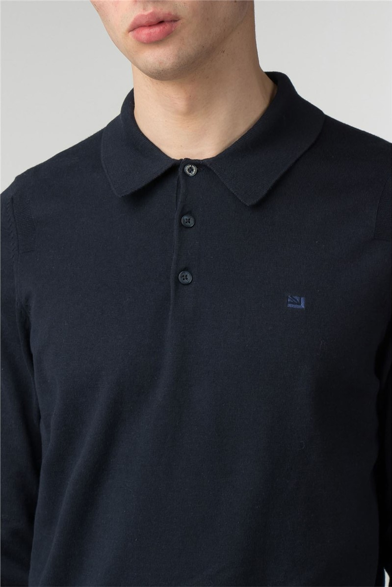 Men's Navy Blue Long Sleeved Polo Shirt