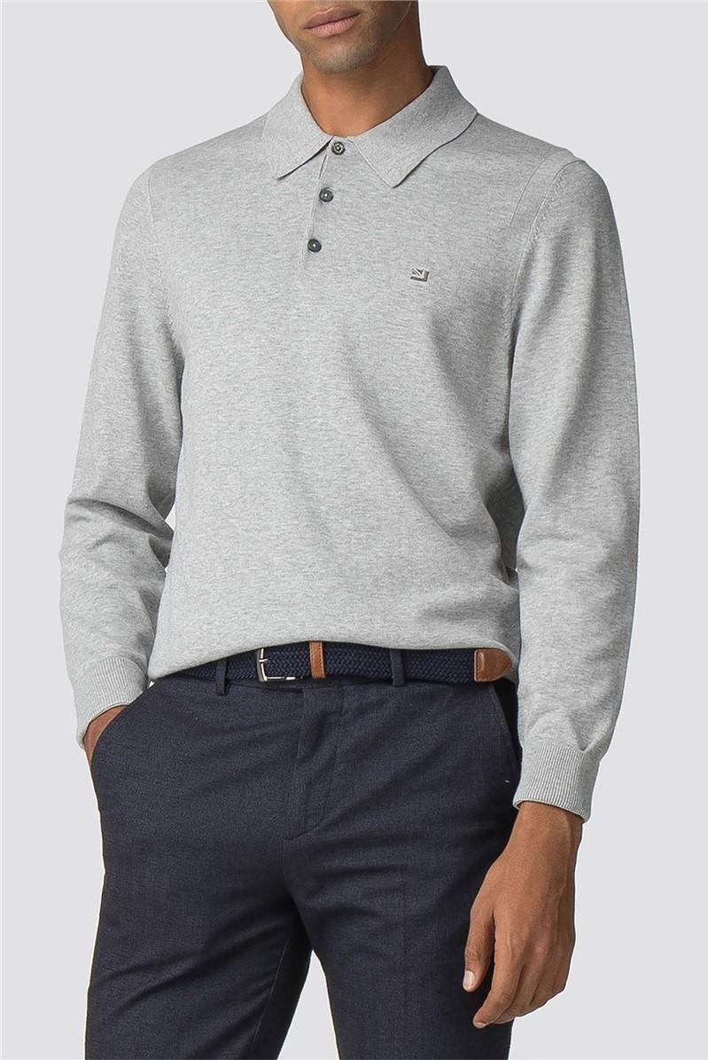 Mid Grey Cotton Long Sleeve Polo