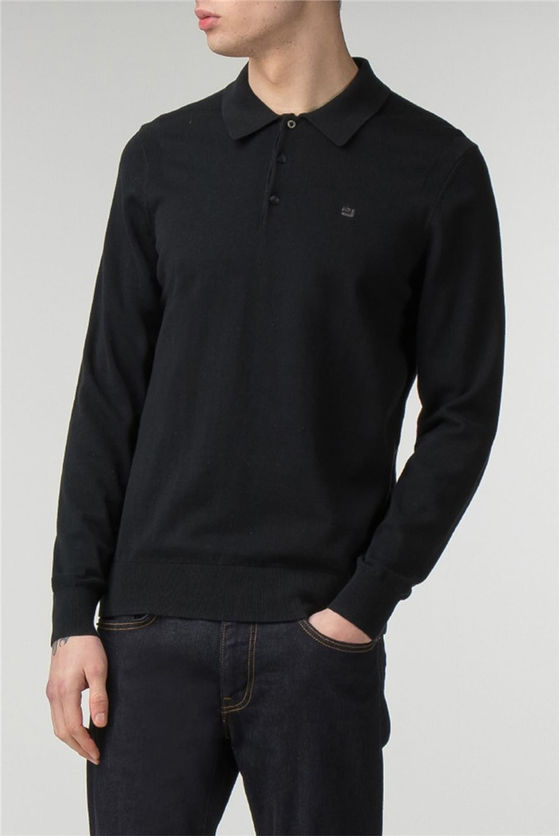 Men's Long Sleeve Knitted Polo Shirt