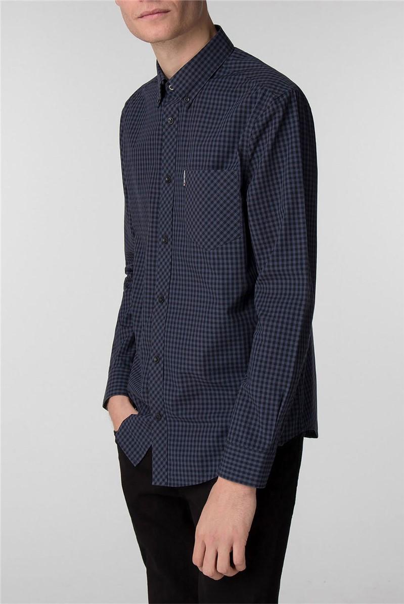 Long Sleeve Grey Gingham Shirt