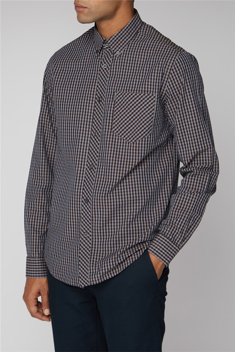 Long Sleeve Grey Gingham Shirt