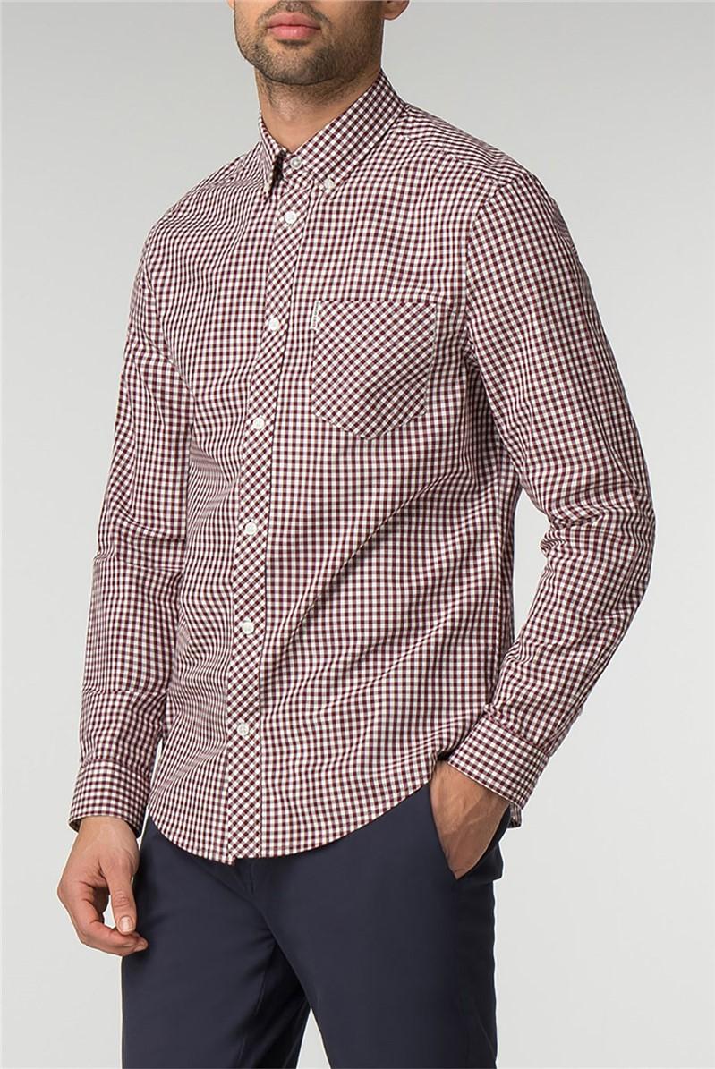 Long Sleeve Burgundy Gingham Shirt