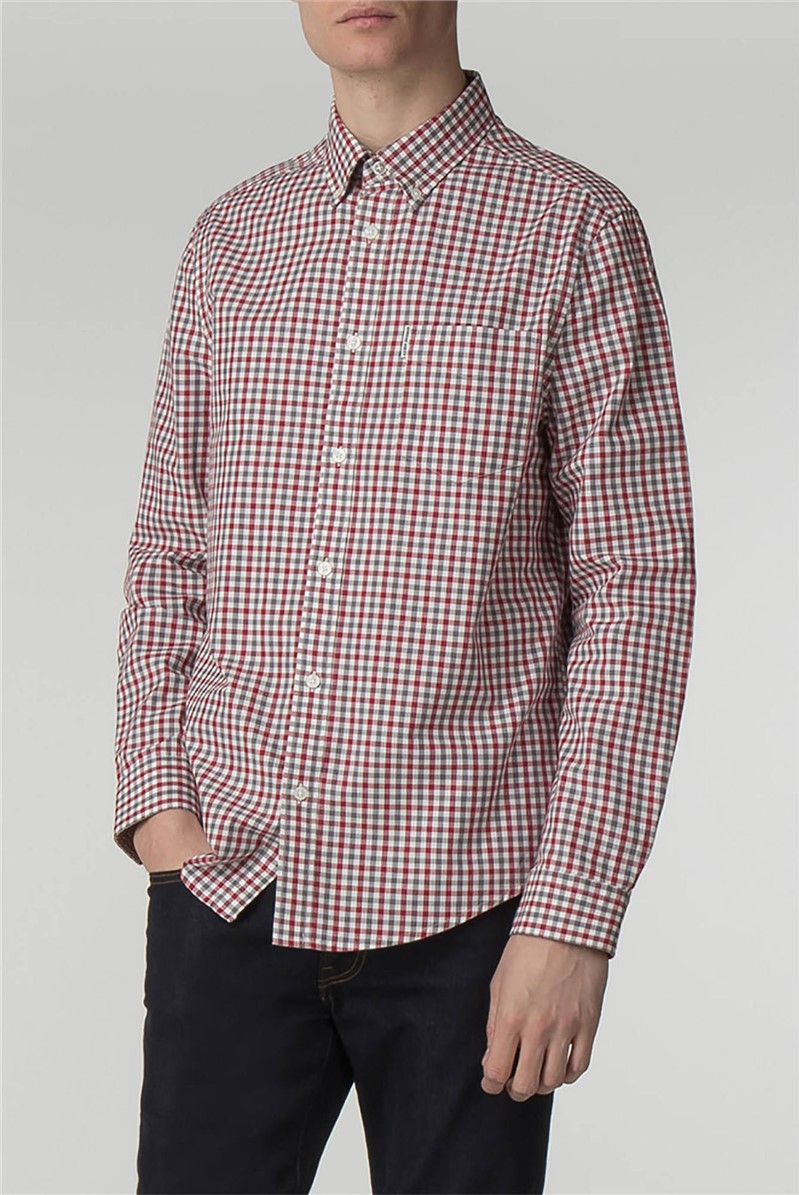 Long Sleeve White/Red Gingham Shirt