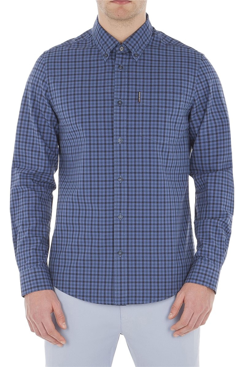 Long Sleeve Blue Gingham Shirt