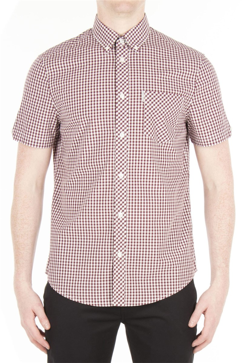 Short Sleeve Burgundy Gingham Shirt