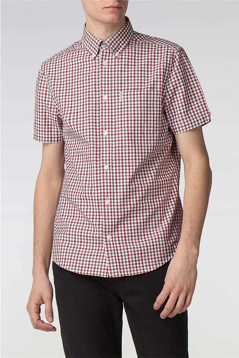 White/Red Short Sleeve Gingham Shirt